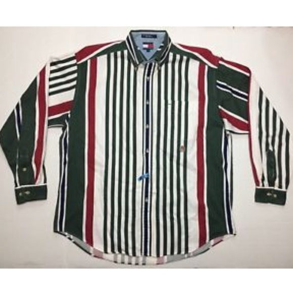 18b4e55d Vintage Tommy Hilfiger Green Striped Shirt Mens L.  M_5ae557a6a4c48565ae75ed67